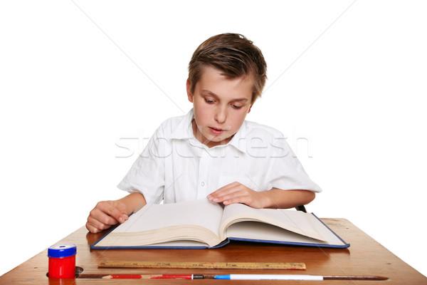 школы студент чтение книга ребенка изучения Сток-фото © lovleah
