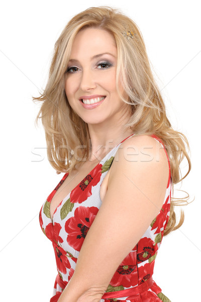 Beautiful smiling woman in dress Stock photo © lovleah