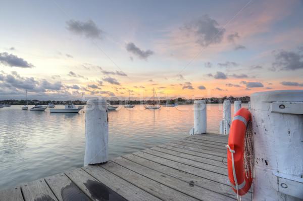 Kereste park demir gün batımı iskele Stok fotoğraf © lovleah