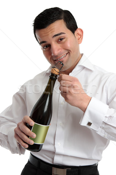 Férfi csapos nyitás bor pezsgő derűs Stock fotó © lovleah