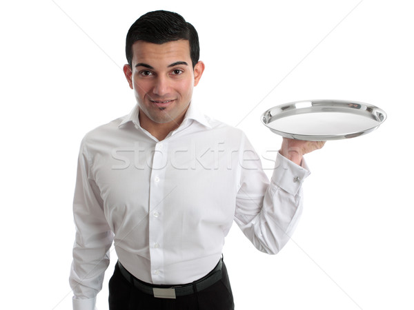 Waiter or bartender holding a silver tray Stock photo © lovleah