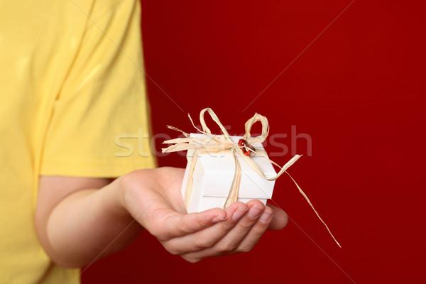 Geschenk hand aanbieden klein ingericht donkere Stockfoto © lovleah