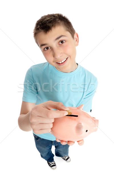 Piggy Bank мальчика деньги окна Сток-фото © lovleah