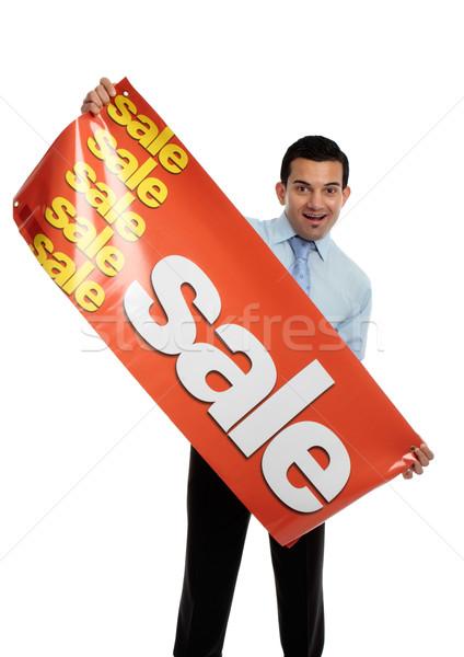 Działalności sprzedawca sprzedaży banner szczęśliwy Zdjęcia stock © lovleah