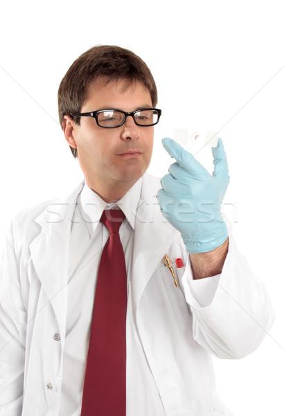 Investigador estudiar microscopio Slide masculina hasta Foto stock © lovleah