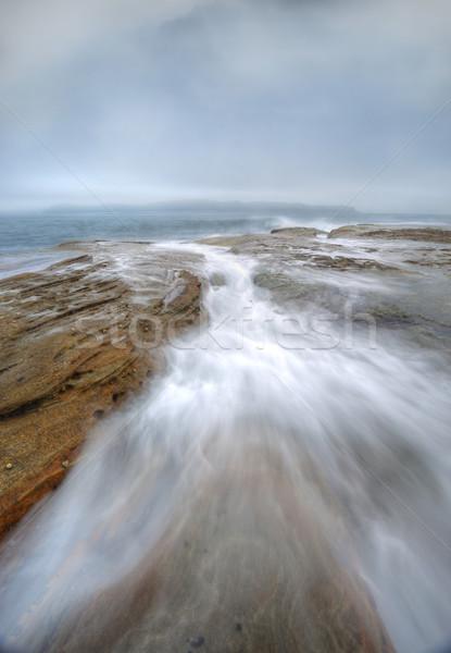 Photo stock: Misty · brouillard · océan · ciel · Rock