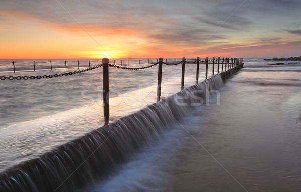 プール 日の出 太陽 岩 過剰 海 ストックフォト © lovleah