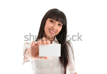 Pretty smiling woman with business or id card Stock photo © lovleah
