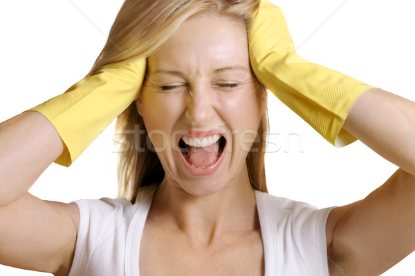 Female screams No more work Stock photo © lovleah