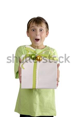 Opgewonden jongen aanwezig breed groene Stockfoto © lovleah