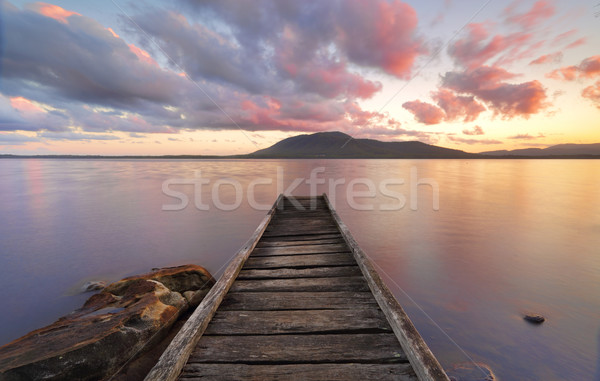 Queens Lake Reserve Jetty at sunset Stock photo © lovleah