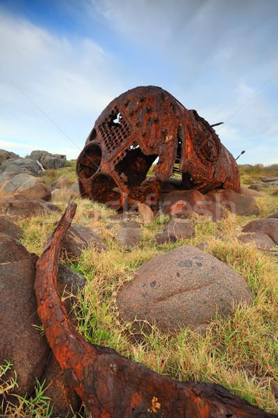 Oude schipbreuk punt herinnering macht oceaan Stockfoto © lovleah