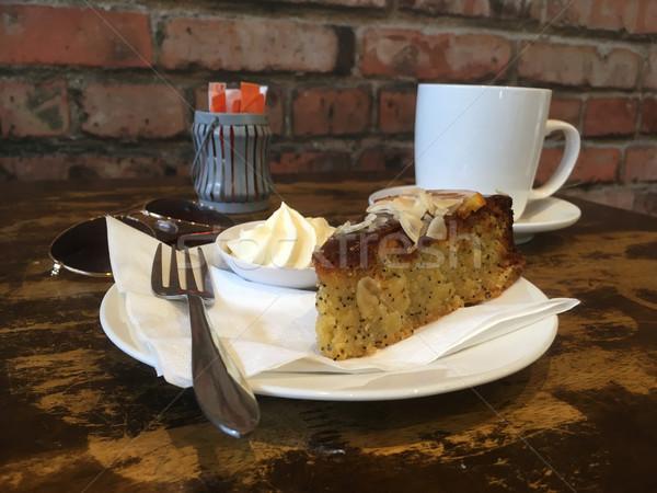 Morning tea break cafe coffee and cake Stock photo © lovleah