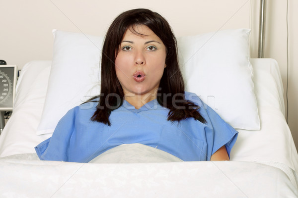 Pregnant woman labour - breathing exercises Stock photo © lovleah