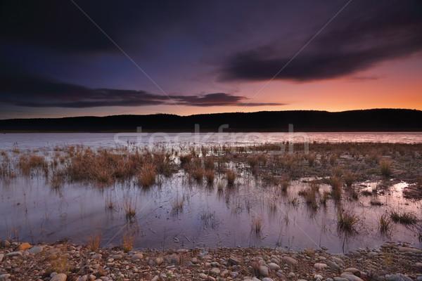 Zachód słońca ostatni świetle niebieski góry jezioro Zdjęcia stock © lovleah