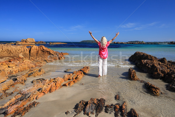 Love Vacation Love Summer at Beach, female arms raised happiness Stock photo © lovleah