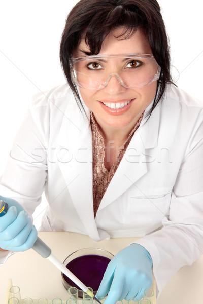 Gülen tıbbi araştırmacı bilimsel oturma büro Stok fotoğraf © lovleah