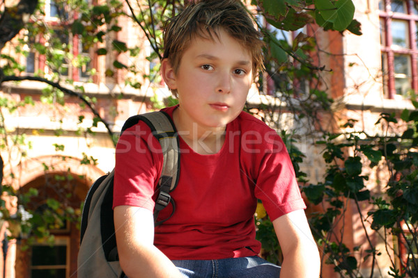 Student waiting outside school Stock photo © lovleah