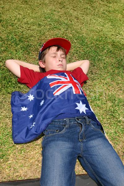 австралийский патриотический мальчика флаг короткий Сток-фото © lovleah