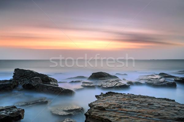 ストックフォト: ビーチ · シドニー · 日の出 · 海景 · 岩 · 長時間暴露