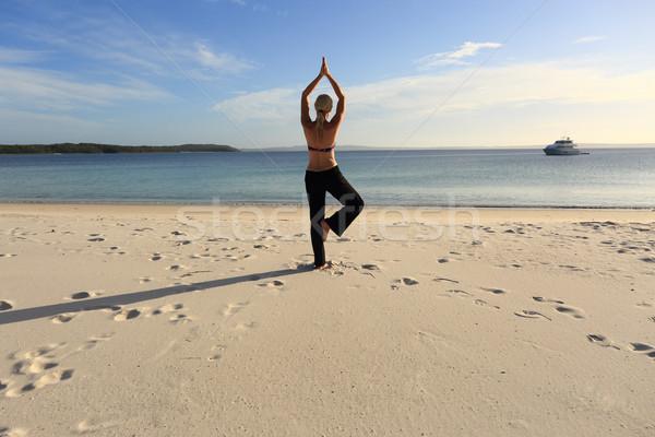 Woman balancing on one leg yoga pose Stock photo © lovleah