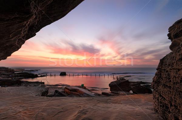 Bella sunrise piscina sensazionale rock Foto d'archivio © lovleah