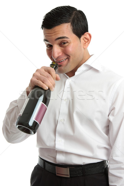 Alcohol abuse man drinking from wine bottle Stock photo © lovleah