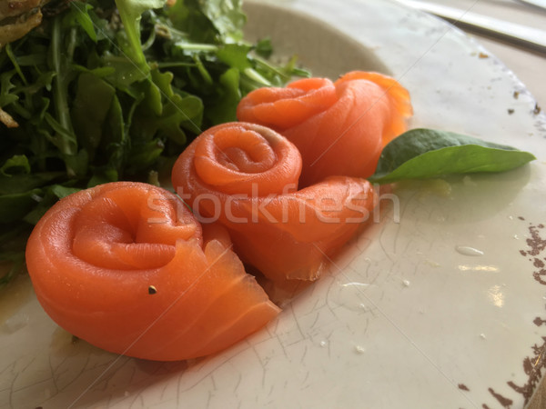 Smoked salmon rolled rosette Stock photo © lovleah