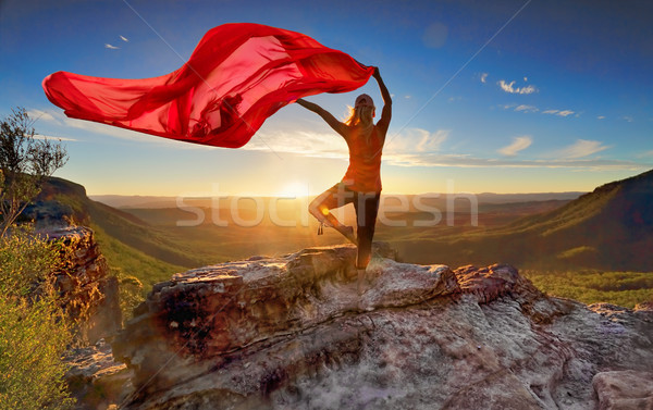 Woman Pilates Yoga balance  with sheer flowing fabric Stock photo © lovleah