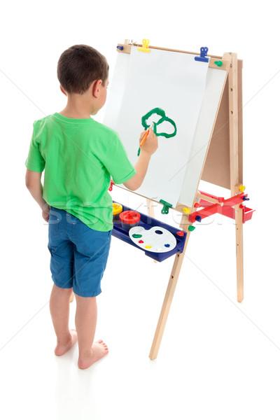 Chłopca malarstwo zdjęcie młody chłopak sztuki sztaluga Zdjęcia stock © lovleah