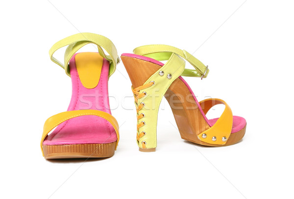 Stock photo: Colourful ladies high heel leather sandals shoes