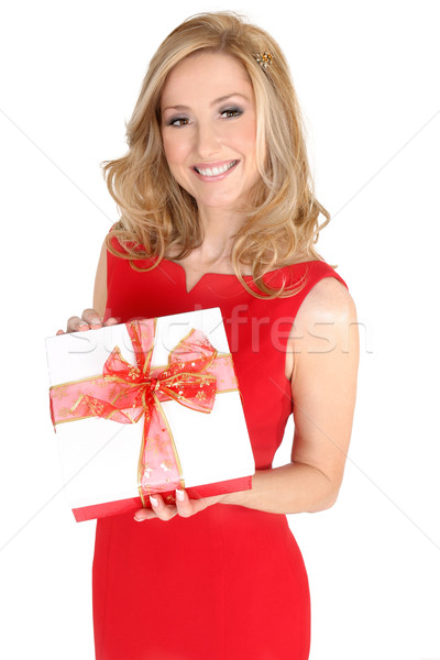 Pretty smiling female with present Stock photo © lovleah