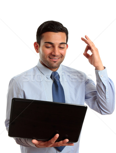Happy businessman laptop excellent Stock photo © lovleah