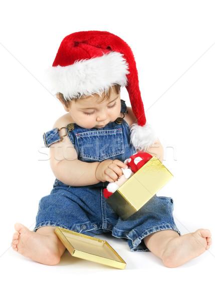 Bebê abrir natal apresentar menina brim Foto stock © lovleah