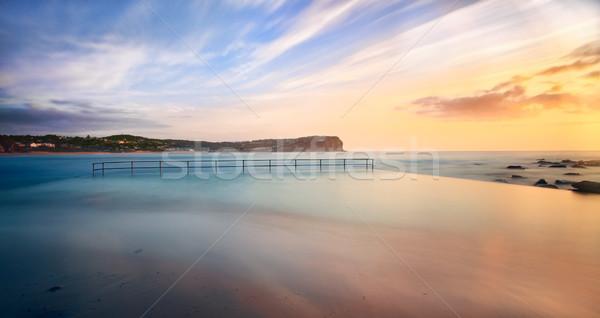 Plaży basen przypływ Świt ocean morza Zdjęcia stock © lovleah