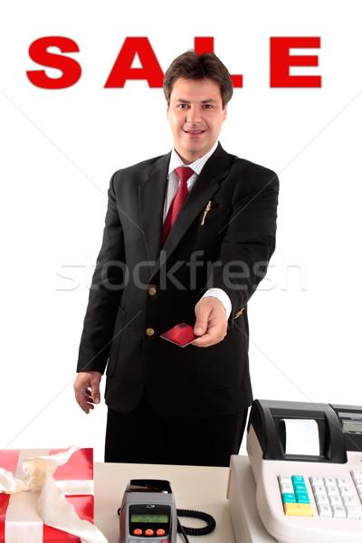 Venda homem compra presentes mãos crédito Foto stock © lovleah
