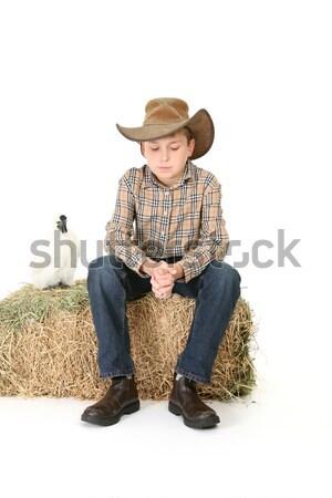 Fiú széna bála nyereg vidék ül Stock fotó © lovleah