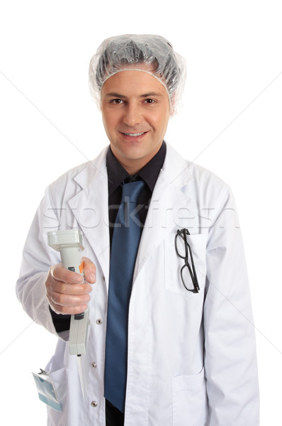 Clinical researcher with multi pipettor Stock photo © lovleah