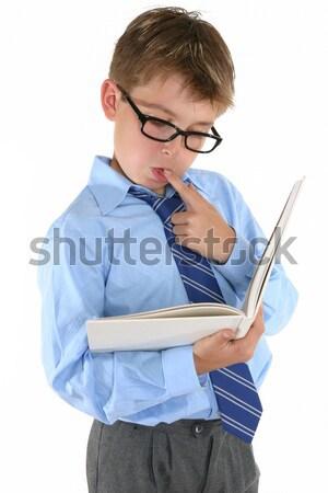 Diák olvas tanul iskolás fiú egyenruha könyv Stock fotó © lovleah