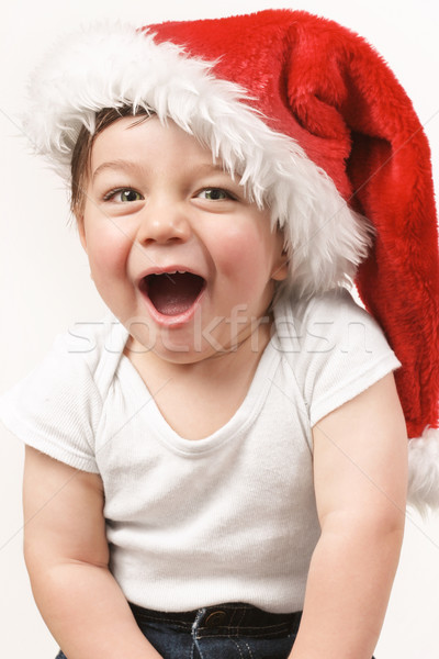 Jolly boy in santa hat Stock photo © lovleah