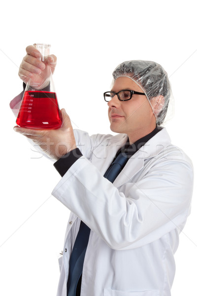 Chemistry - Scientist with erlenmeyer flask Stock photo © lovleah