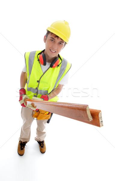 Constructeur charpentier jeunes apprenti stagiaire Photo stock © lovleah