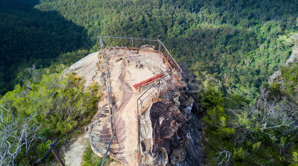Overhead views to rocky outcrop and lookout Blue Mountains Austr Stock photo © lovleah