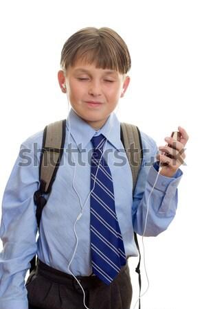 Jongen mobiele telefoon student mobieltje witte kind Stockfoto © lovleah