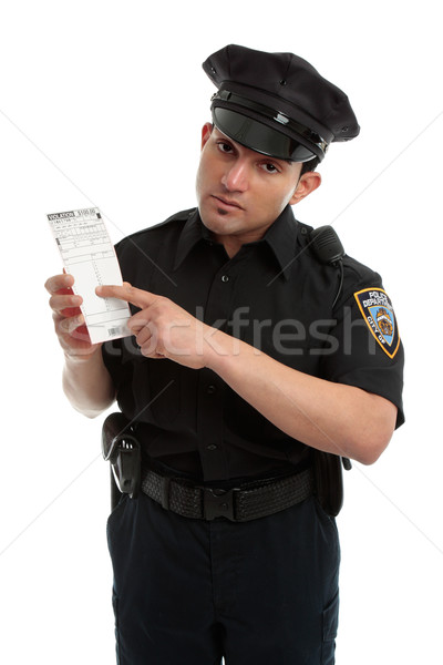 Police officer or traffic warden with infringement ticket Stock photo © lovleah