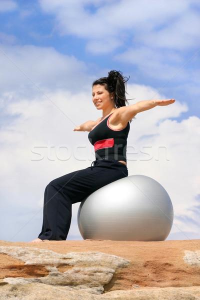 Femminile pilates palla equilibrio bella ragazza Foto d'archivio © lovleah