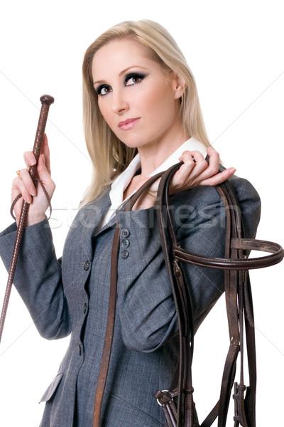 Divat stílus lovas visel kabát tart Stock fotó © lovleah