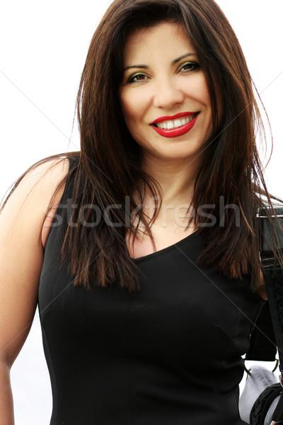 çekici gülen kadın güzel uzun esmer Stok fotoğraf © lovleah