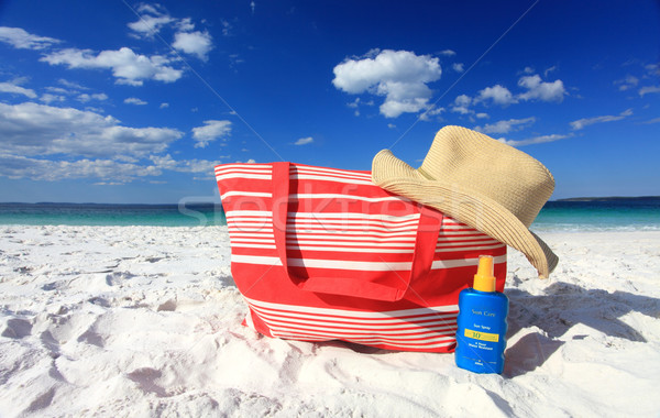 Summertime sun protection sunscreen hat at the beach Stock photo © lovleah