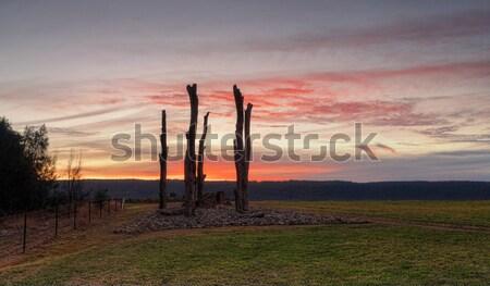 Stok fotoğraf: Gün · batımı · mavi · dağlar · güzel · kış · zengin